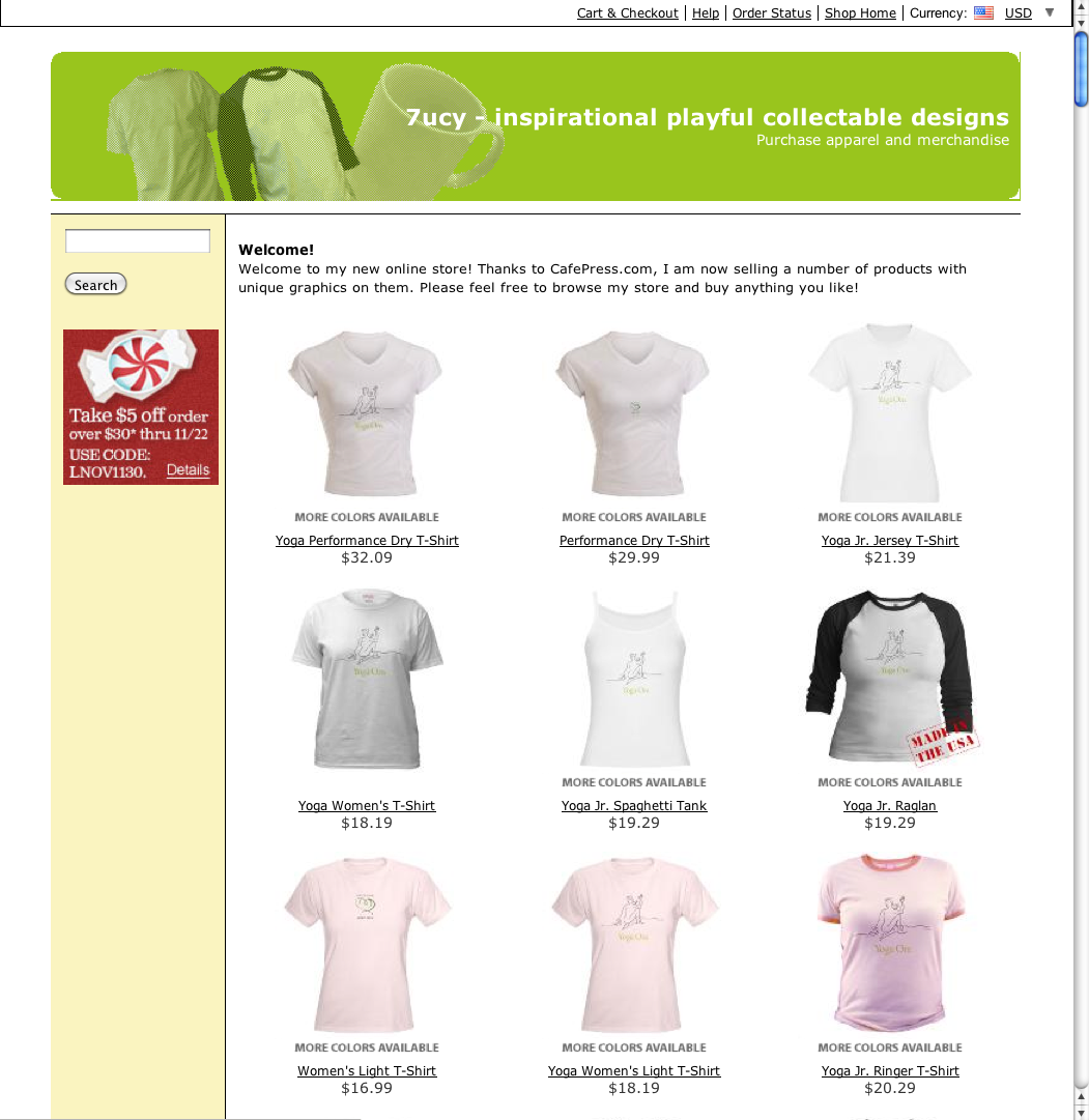 cafepress store for yoga apparel and gift ideas