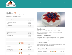 WordPress Bakery website cake menu Denver, CO