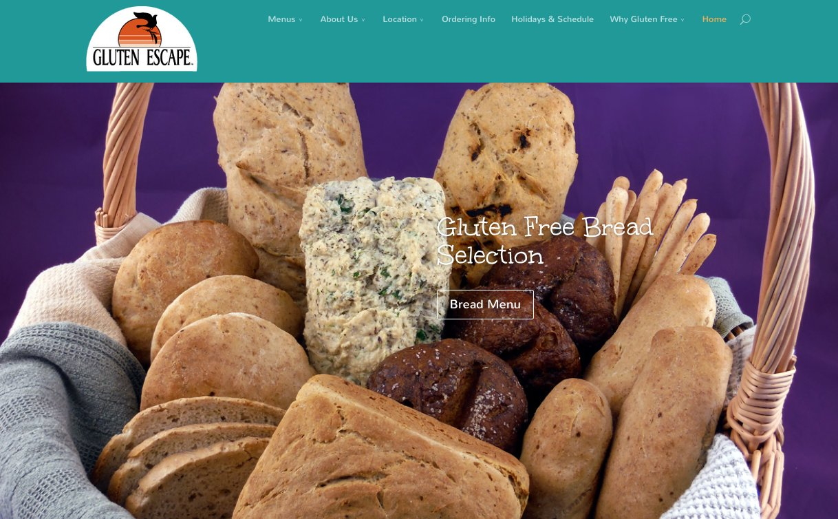 The Gluten Escape WordPress Website